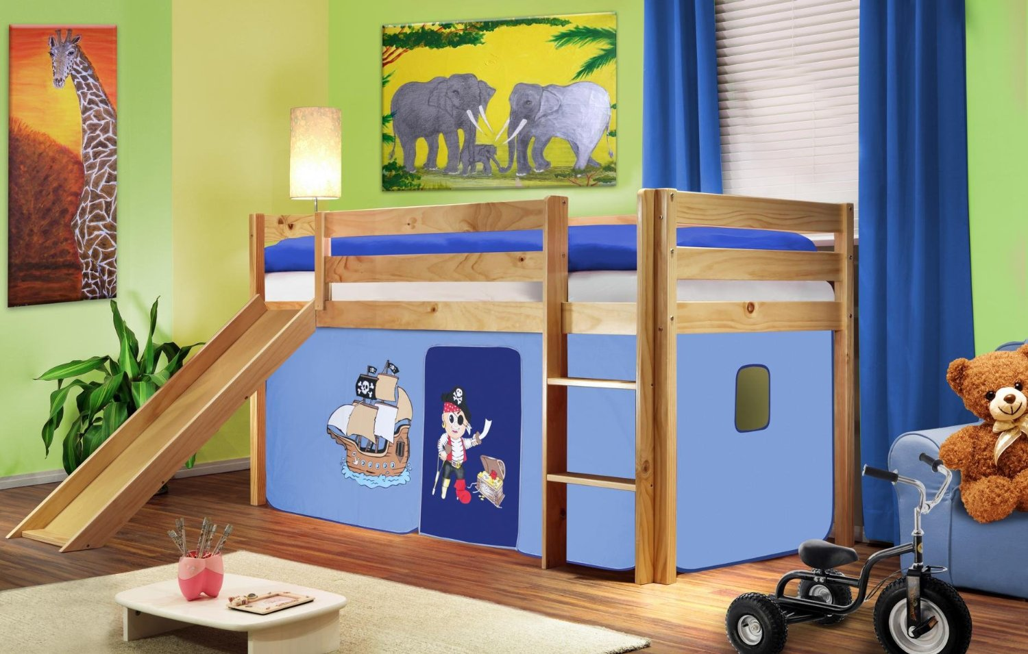 sixbros kinderbett mit rutsche massiv kiefer pirat blau kinderzimmer. Black Bedroom Furniture Sets. Home Design Ideas